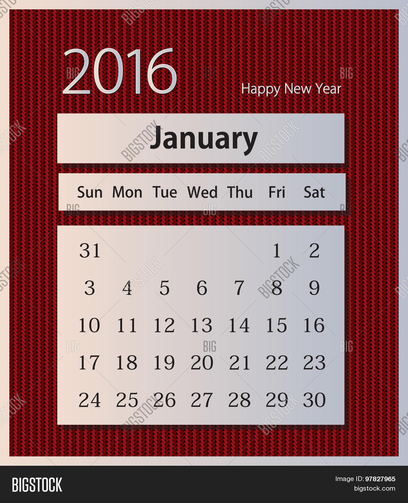 Sample calendar 2016 on knitted background vector January – Sample Calendar