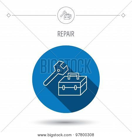 Repair toolbox icon. Wrench key sign.