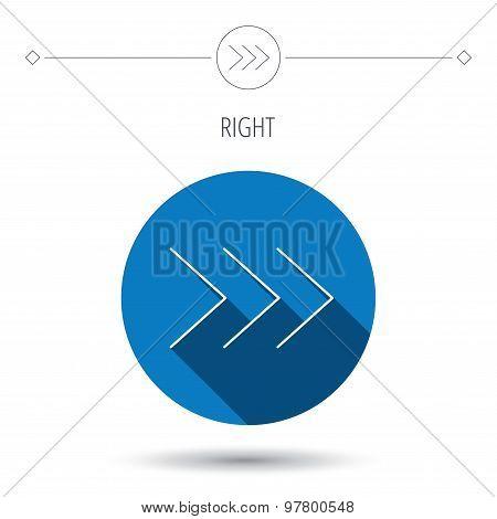 Right arrow icon. Forward sign.
