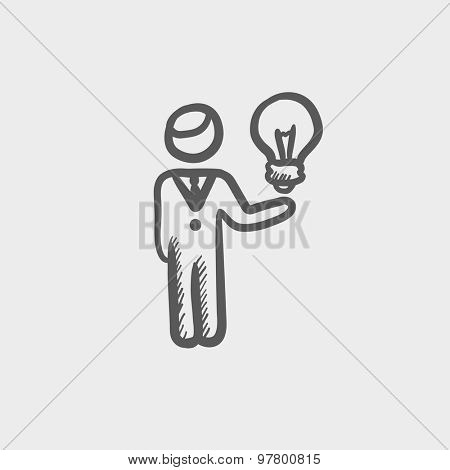 Man holding idea sketch icon for web and mobile. Hand drawn vector dark grey icon on light grey background.