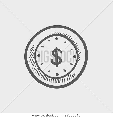 Business sketch icon for web and mobile. Hand drawn vector dark grey icon on light grey background.