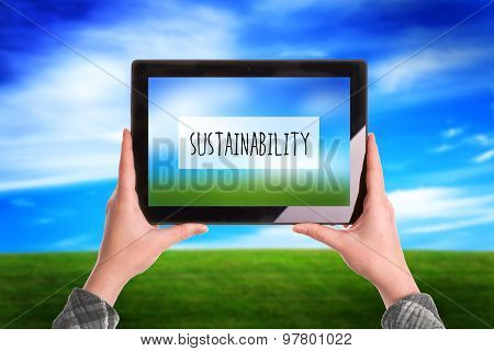 Sustainability Concept, Woman With Digital Tablet Computer Outdoors