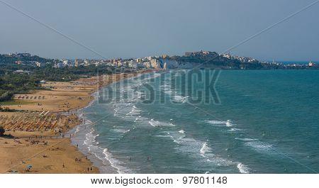 Panorama Of Vieste Beach, Gargano Natural Park, Puglia, Italy