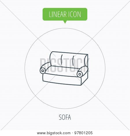 Sofa icon. Comfortable couch sign.