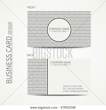 Geometric monochrome business card template with square pattern for your design. Polygon pattern. Bu