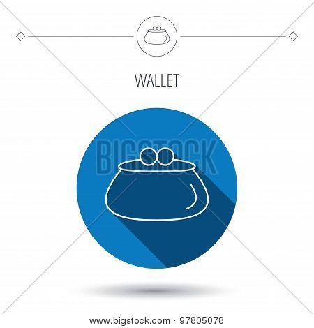 Vintage wallet icon. Cash money bag sign.