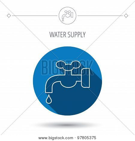 Water supply icon. Crane with drop sign.