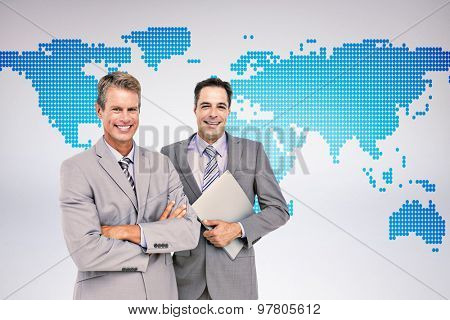 Business team standing arms crossed and with a folder against grey background Business team standing arms crossed and with a folder against a white screen