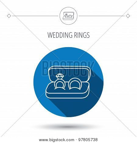 Wedding rings icon. Jewelry with diamond sign.