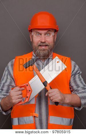 Hipster bearded builder