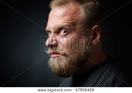 Demanding bearded man