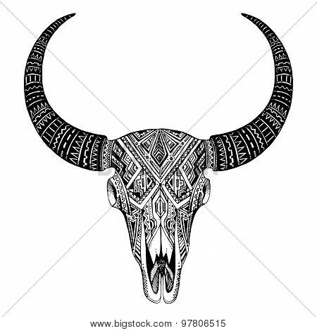 Decorative Indian Bull Scull In Tattoo Tribal Style.