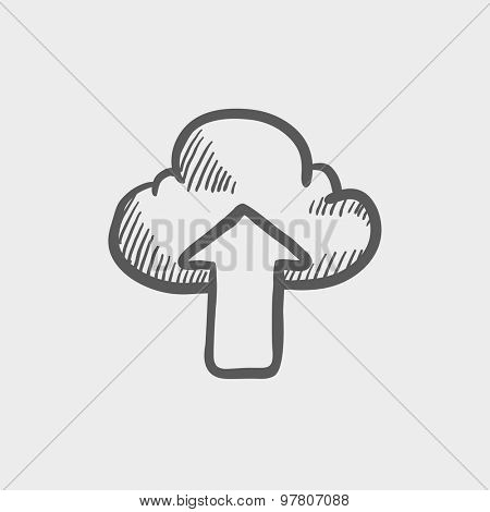 Cloud with arrow up sketch icon for web and mobile. Hand drawn vector dark grey icon on light grey background.