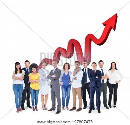 Business team against red arrow pointing up