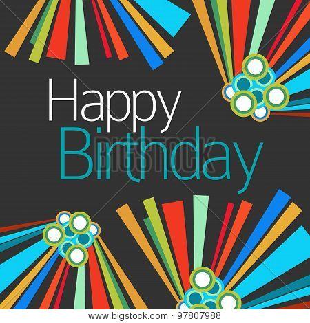Happy Birthday Dark Colorful Elements