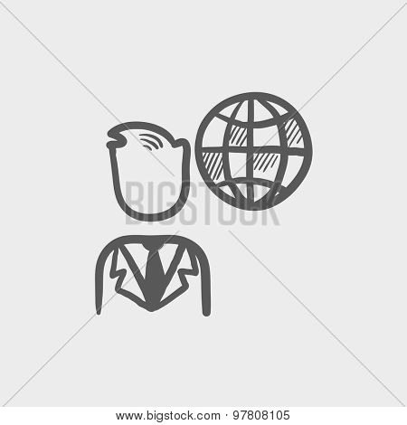 Businessman with global sketch icon for web and mobile. Hand drawn vector dark grey icon on light grey background.