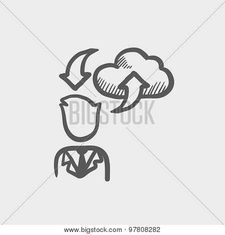 Man with cloud uploading and downloading arrows sketch icon for web and mobile. Hand drawn vector dark grey icon on light grey background.