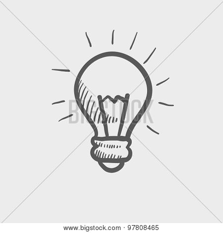Light bulb sketch icon for web and mobile. Hand drawn vector dark grey icon on light grey background.