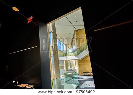 High contrast passage, gate, entrance, doorway. Abstract fragment of architecture of modern lobby, hallway of the luxury hotel, shopping mall, business center in Vancouver, Canada. Interior design.