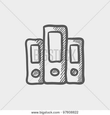 Book file sketch icon for web and mobile. Hand drawn vector dark grey icon on light grey background.
