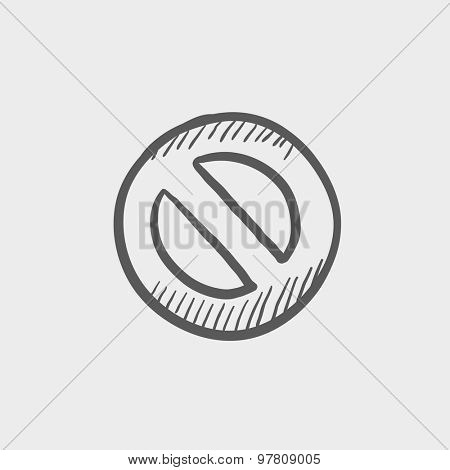 Not allowed sign sketch icon for web and mobile. Hand drawn vector dark grey icon on light grey background.