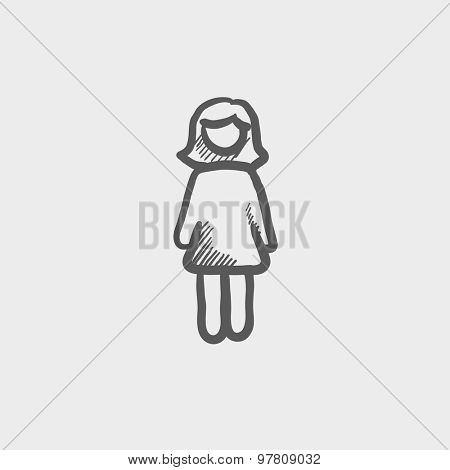 Woman standing sketch icon for web and mobile. Hand drawn vector dark grey icon on light grey background.