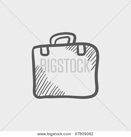 Briefcase sketch icon for web and mobile. Hand drawn vector dark grey icon on light grey background.