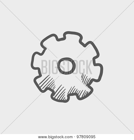 Gear sketch icon for web and mobile. Hand drawn vector dark grey icon on light grey background.