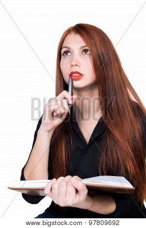 Young women with copybook, business style