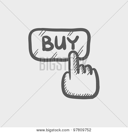Finger pointing to buy sign sketch icon for web and mobile. Hand drawn vector dark grey icon on light grey background.