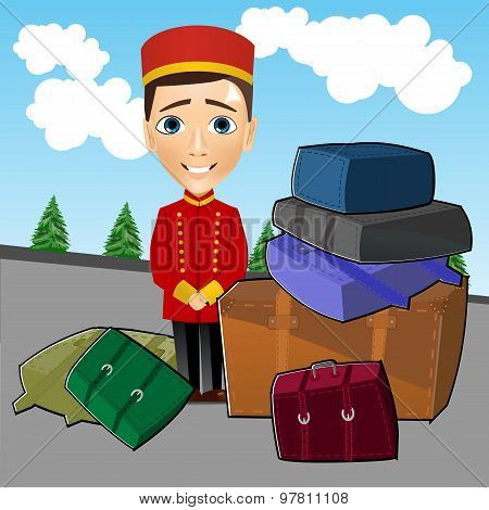 bellboy standing near luggage