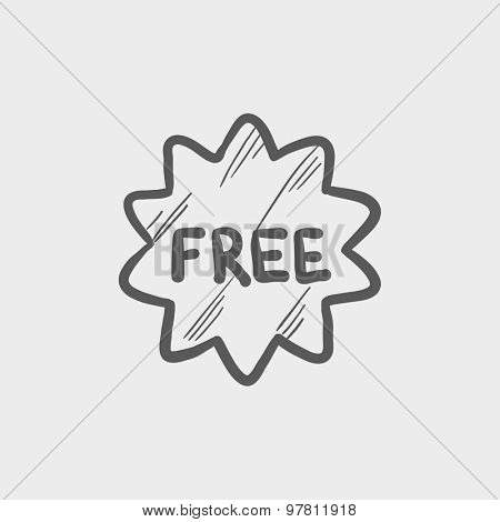 Free tag sketch icon for web and mobile. Hand drawn vector dark grey icon on light grey background.