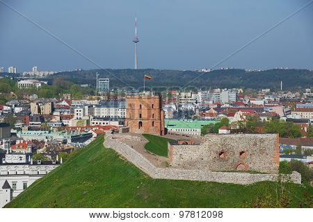 View to the Gediminas hill and Vilnius city in Vilnius, Lithuania.