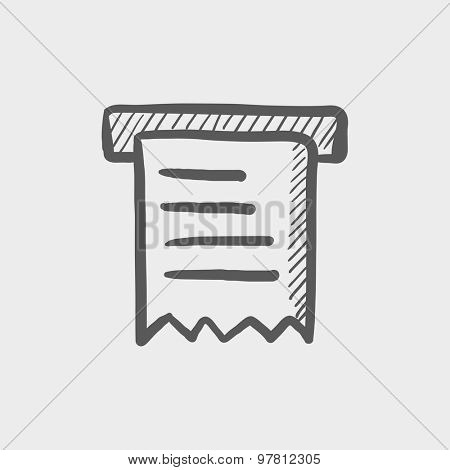 Receipt with roller sketch icon for web and mobile. Hand drawn vector dark grey icon on light grey background.