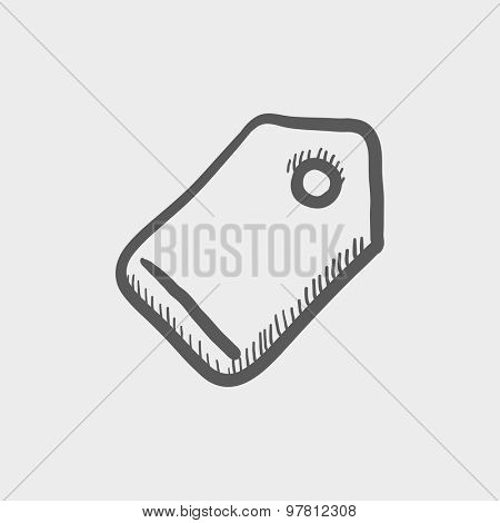 Empty tag sketch icon for web and mobile. Hand drawn vector dark grey icon on light grey background.
