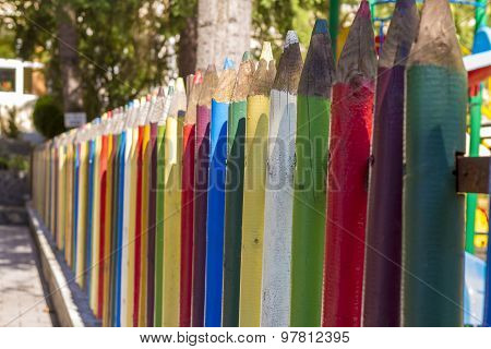 Fence of Colourful Pencils