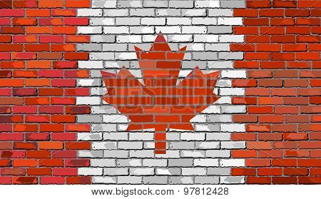 Grunge Flag Of Canada On A Brick Wall