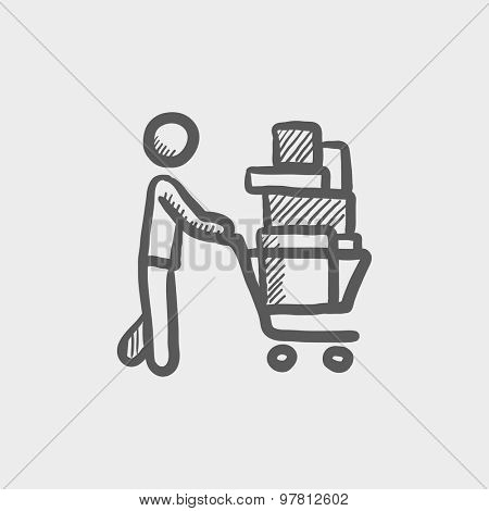Shopping cart full of shopping bags sketch icon for web and mobile. Hand drawn vector dark grey icon on light grey background.