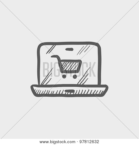 Online shopping sketch icon for web and mobile. Hand drawn vector dark grey icon on light grey background.