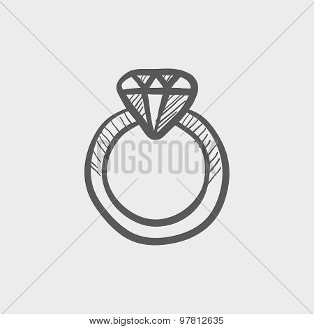 Diamond ring sketch icon for web and mobile. Hand drawn vector dark grey icon on light grey background.