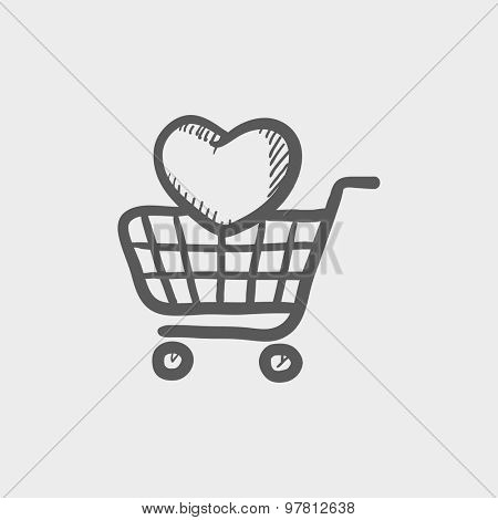 Shopping cart with heart sketch icon for web and mobile. Hand drawn vector dark grey icon on light grey background.