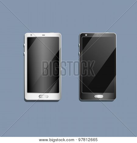 Realistic black mobile phone with blank screen isolated on white, Vector