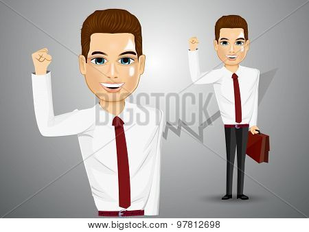 business man with briefcase raising his right hand up