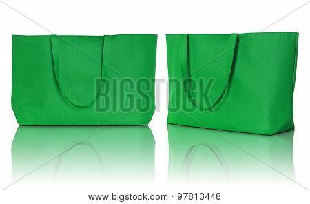 Green Shopping Fabric Bag On White Background
