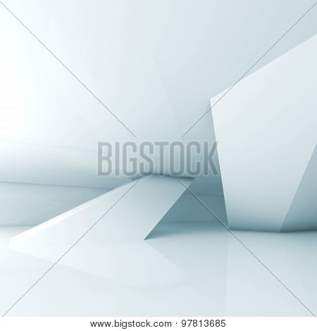 Abstract Empty Light Blue Room Interior 3D