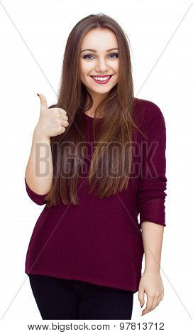 Young Woman Dressed In Red Showing Thumb Up Gesture, Isolated Over White.