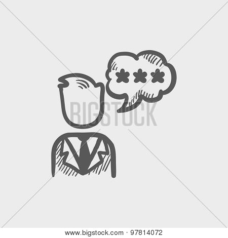 Man with three stars in speech square sketch icon for web and mobile. Hand drawn vector dark grey icon on light grey background.