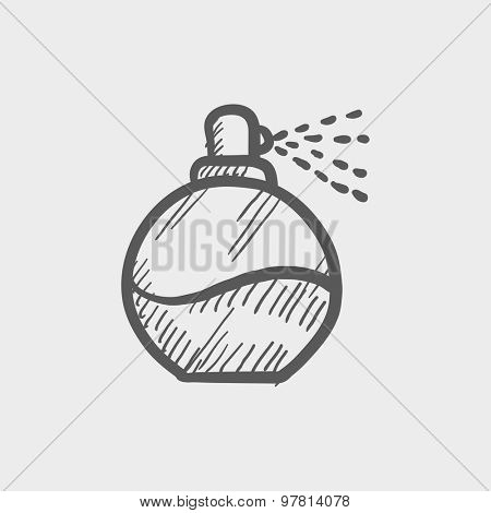 Perfume sketch icon for web and mobile. Hand drawn vector dark grey icon on light grey background.