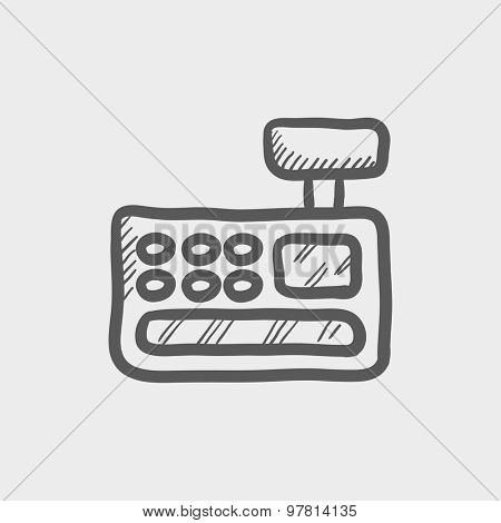 Cash register machine sketch icon for web and mobile. Hand drawn vector dark grey icon on light grey background.