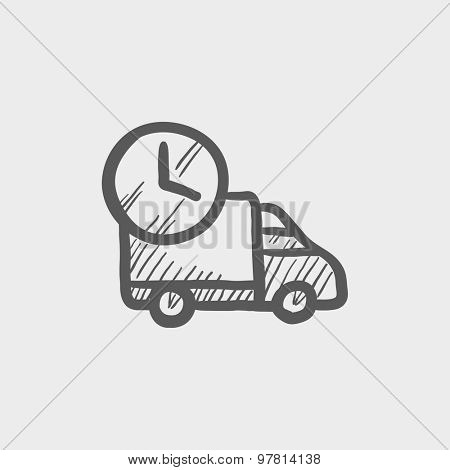 On time delivery van sketch icon for web and mobile. Hand drawn vector dark grey icon on light grey background.
